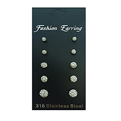 316L Surgical Stainless Steel Fireball White Sapphire Rhinestones Crystal Stud Earring Set (5 Pairs)