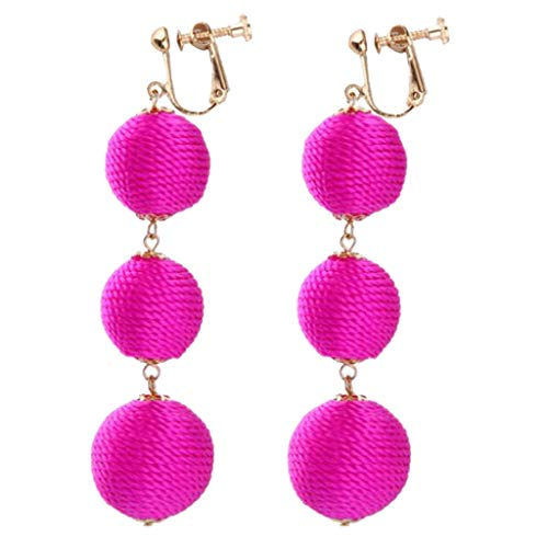 - Fashion Boho Clip-on Dangle Earrings Round Ball Beads with Rope Gold Plated Yellow Pink Green Red Colors