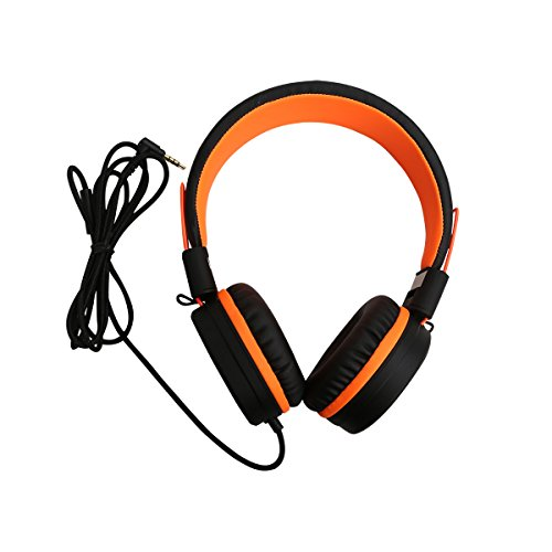 (JNTworld I50 Stereo Wired Headphone Gaming Over-Ear Headset Computer Phone Earphone (1.5m Cable/3.5mm Plug), Orange )