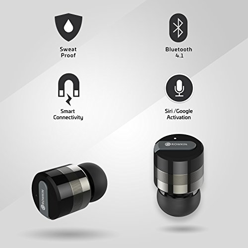 Rowkin Bit Charge Stereo: True Wireless Earbuds w/ Charging Case. Bluetooth Headphones Smallest Cordless Hands-free Mini Earphones Headset w/ Mic & Noise Reduction for Android & iPhone (Space Gray) by Rowkin (Image #2)