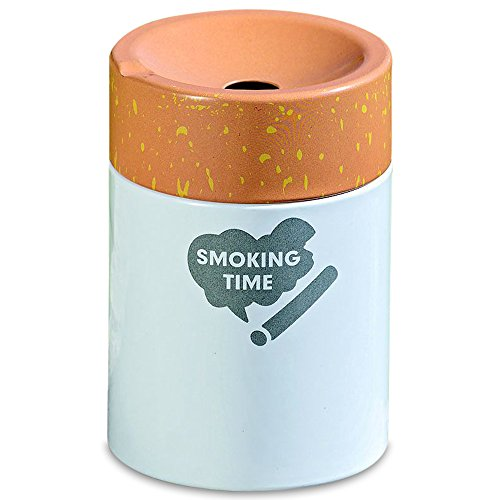 Time Tray Hostess (The Pop Art Cigarette Butt Ashtray, Smoking Time Graphic, Tobacco Wrapper Style White Base with Brown Top, Iron, 3 ¼ Diameter x 4 ¼ Tall inches, By WHW)