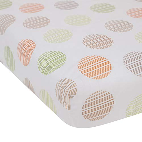 Tales Cotton Fitted Crib Sheet - Brown, White, Green ()