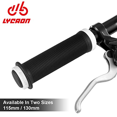 LYCAON Bike Grips Two Sizes Options 115mm / 130mm Anti-Slip Soft TPR Rubber Double Locking Grips, with Install Tool & End Plugs Mountain Road Kids Folding Bikes MTB BMX (White, 115)
