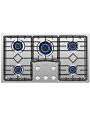Empava 36 Inch Gas Stove Cooktop with 5 Italy Sabaf Sealed Burners NG/LPG Convertible in Stainless Steel