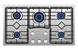 "gas cooktop 36 inch Empava EMPV-36GC5B9S 36"" Recessed Gas Stove Cooktop with 5 Italy SABAF Sealed Burners NG/LPG Convertible in Stainless Steel, 36 Inch"