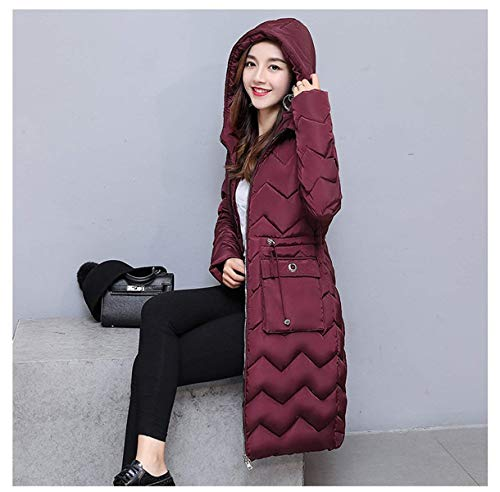 Battercake Winered Parka Elegantes Larga Fashion Mujeres Manga Caliente Outwear Chaqueta Largos Mujer Casuales Outdoor Invierno Espesar Anchos Encapuchado Pluma SSfUqrwd