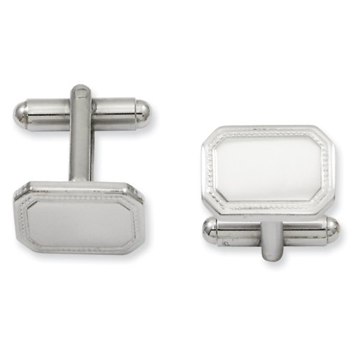 Plated Polished Rectangle Cufflinks (Rhodium-plated Polished Rectangle Cuff Links KW600)