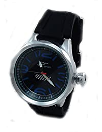 Mens Diver Look Stainless Steel Black Rubber Watch-Red Accent