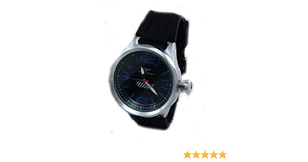 Amazon.com: Tecno Sport Mens Diver Look Stainless Steel Black Rubber Watch-Red Accent: Watches