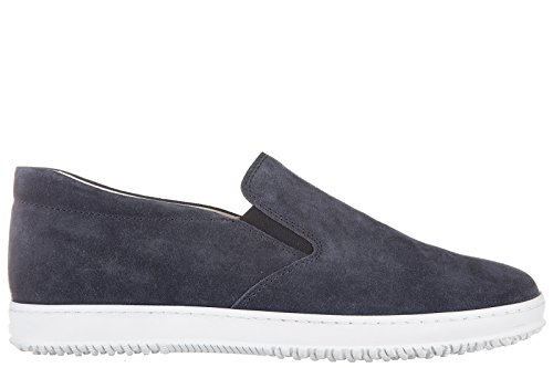 Hogan slip on uomo in camoscio sneakers nuove originali h168 blu