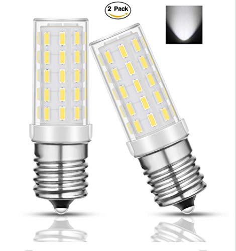 Warmoon E17 LED Bulb, 5W Daylight White 6000K 50W Equivalent for Freezer, Under-Microwave Stove Light, 2 Pack (E17 5W 6000K)