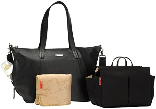 Storksak Noa Leather Shoulder Bag Diaper Bag with Organizer, Black