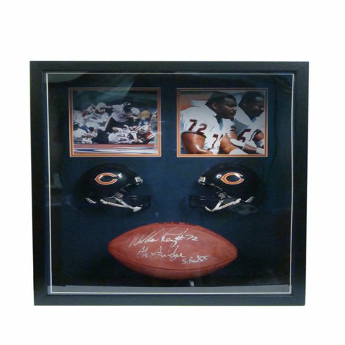 Encore Select 651-FBCHI72 William Perry Autographed in.Special in. Football with Two 8 x 10 in. Photographs44; Two Miniature Helmets & Ball in a 22 x 26 in. Deluxe Frame Shadow Bo from Encore