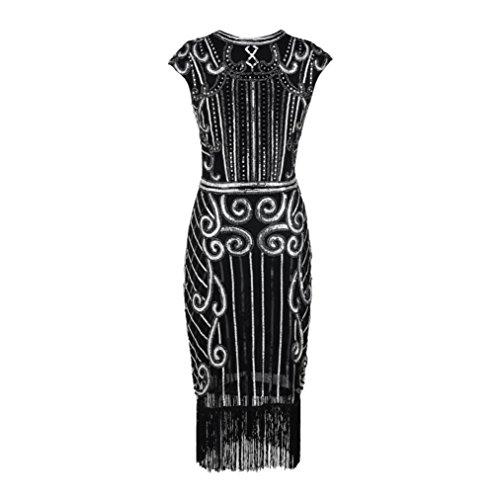 UFACE Damen QuastenWebart Paillettenkleid 1920 Vintage Frauen Quaste ...