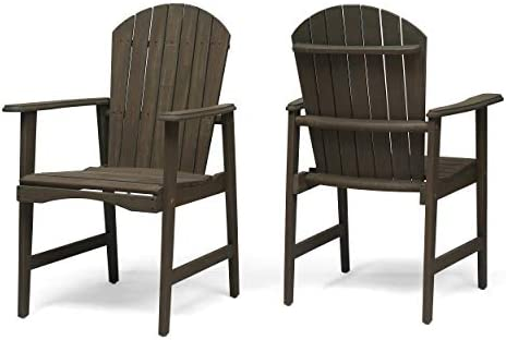 Easter Outdoor Weather Resistant Acacia Wood Adirondack Dining Chairs Set of 2 , Gray Finish
