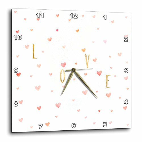 3dRose PS Inspiration - Gold Inspirational Love Watercolor Pink Hearts - 10x10 Wall Clock (dpp_280768_1) by 3dRose (Image #1)