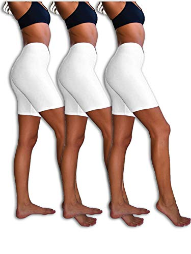 Sexy Basics Womens 3 Pack Sheer & Sexy Cotton Spandex Boyshort Yoga Bike Shorts (X-Large, Snow White)