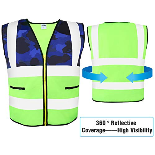 (AKFLY Reflective Vest with Pockets Zipper for Women Men Running Cycling Jogging Walking Motorcycling and Yellow High Visibility Class 2 Safety Vest for Working (Medium))
