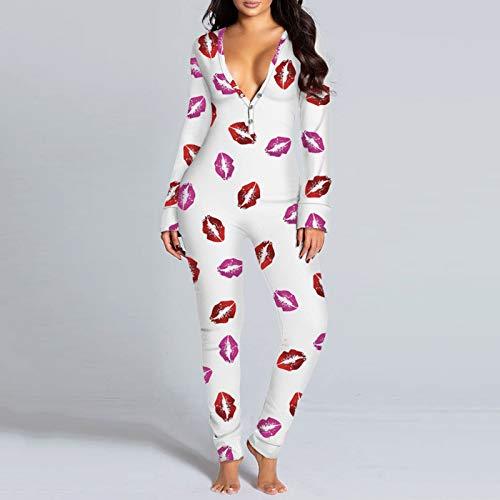LIULIULIU Women\'s Button-Down Jumpsuit Functional Bodysuit Long Sleeves V Neck Sleepwear 9 Pattern S-3XL 1-3 Weeks Delivery