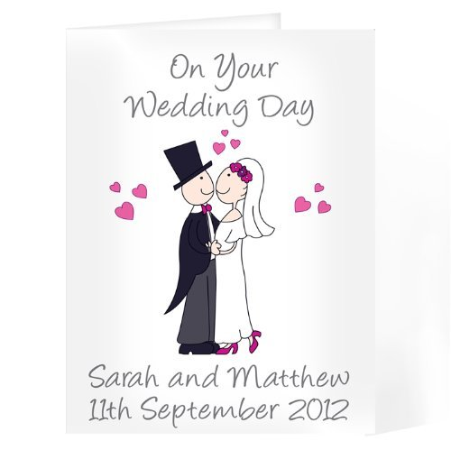 On Your Wedding Day Bride Groom Personalised Card Personalised Cartoon Couple Card Personalise This GiftRush