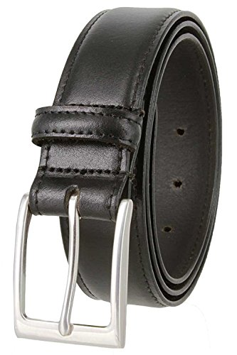 Brians Business Genuine Leather Belt with Silver Buckle 1-3/8 wide