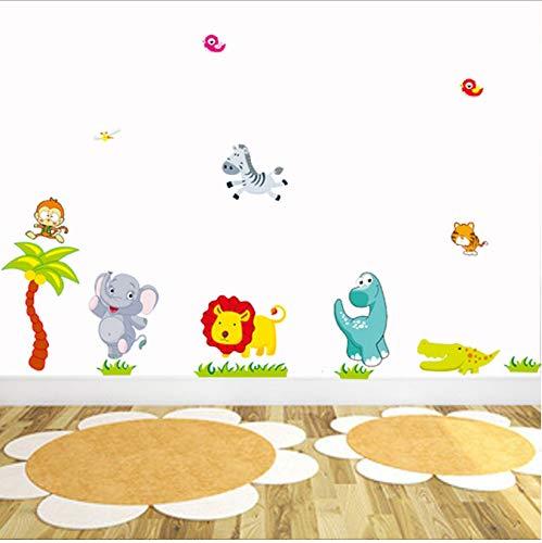 hfwh Pegatinas de Pared, Dibujos Animados Selva Salvaje Animales DIY 3D Vintage Wallpaper Vinilo para Ninos Habitaciones Nino Pared Art Calcomanias Decoracion del Hogar 130x46cm