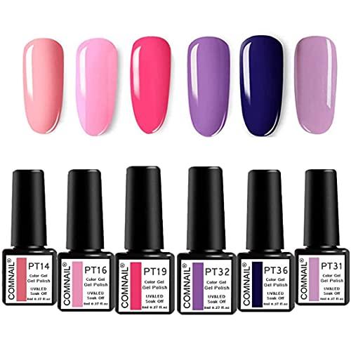 COM NAIL 6 Colors Gel Nail Polish Set Popular Nail Art Colors Soak Off Nail Colors Collection Kit Pro Nail Salon Nail Art at All Seasons Manicure Set COLOR gel kit