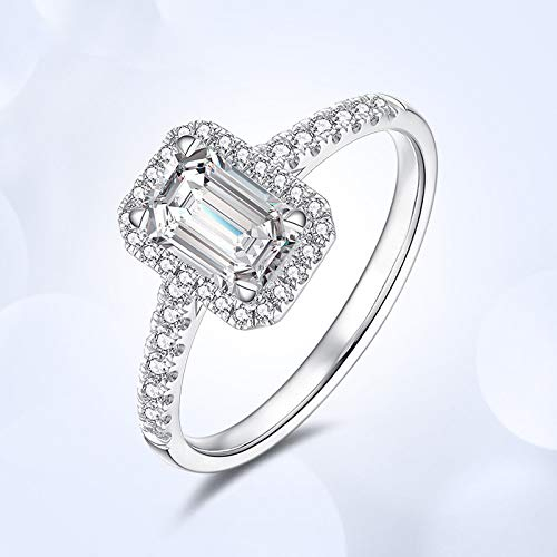 Kuyiuif Cushion 4ct CZ Engagement Rings for Women Cubic Zirconia Promise Halo Engagement Ring 925 Sterling Silver Solitaire Engagement Ring (7)