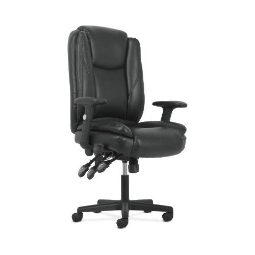 Basyx Leather Chair (basyx by HON High-Back Leather Office/Computer Chair - Ergonomic Adjustable Swivel Chair with Lumbar Support (HVST331))