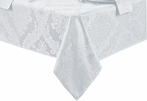 - Barcelona No-Iron Soil Resistant Fabric Damask Tablecloth - 60 X 84 Oval - White