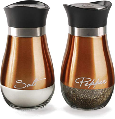 - Circleware Cafe Contempo Elegant Glass Salt and Pepper Shakers Dispenser, Clear Bottom Jar Bottle Container with Stainless Steel Top, Perfect for Himalayan Seasoning Herbs Spices, 4.4 oz, Copper