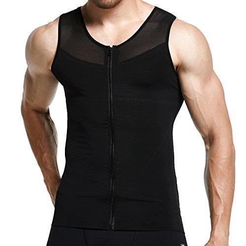 Mens Slimming Shirt Body Shaper Tank Top Front Zipper Corset Vest, Black, Medium