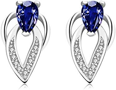 Fashion Stainless Steel Platinum Plated Water Drop Crystal Stud Earrings Women-Guillermo B.Randle