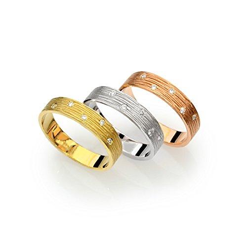- 14k tri color gold wedding band organic gold design with diamonds
