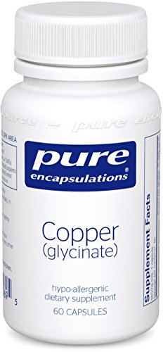 Pure Encapsulations - Copper (Glycinate) - Hypoallergenic Essential Mineral Supplement - 60 Capsules