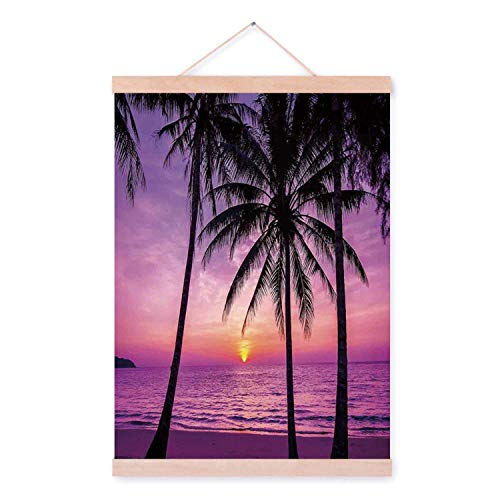 YOLIYANA Ocean Decor Delicate Magnetic Hanging Poster,Palm Trees Silhouette at Sunset Dreamy Dusk Warm Twilight for Hotel,23''W x 47''L