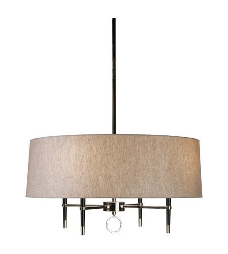 Robert Abbey PN685 Chandeliers with Natural Linen and Rolled Edge Hem Shades, Nickel Finish