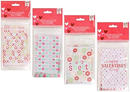 Red Heart Cookie Bags Sweet Bags Valentine/'s Cellophane Bags with Zipper Top Goodie Bags Valentine/'s Candy Bags Valentine/'s Treat Bags