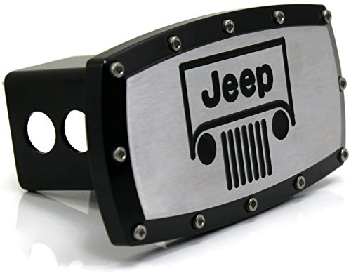 Jeep Vehicle Logo 2″ Tow Hitch Cover Plug Engraved Billet Black Powder Coated