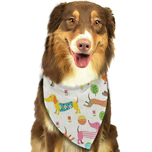 (OURFASHION Color Pattern of Dachshund Bandana Triangle Bibs Scarfs Accessories for Pet Cats and Puppies.Size is About 27.6x11.8 Inches)