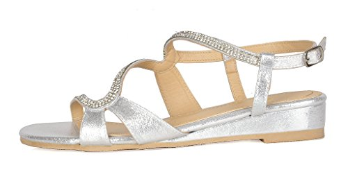 DREAM PAIRS Women's Formosa_1 Silver Low Platform Wedges Slingback Sandals Size 9 B(M) US by DREAM PAIRS (Image #1)