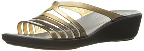 crocs Women's Isabella Mini Wedge Sandal, Black/Smoke, 4 M US by Crocs
