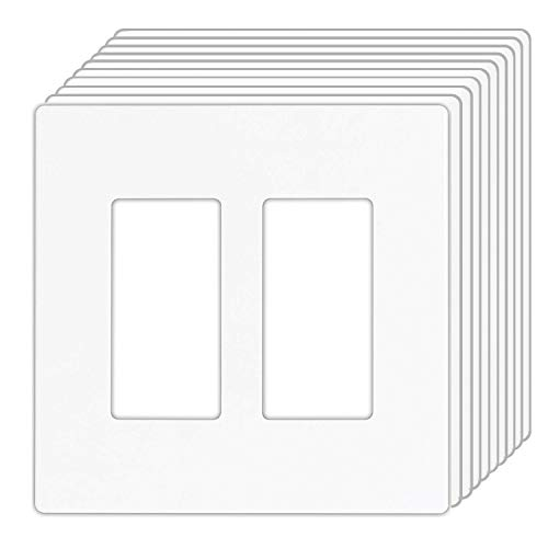 [10 Pack] BESTTEN Screwless Wall Plates, USWP4 Series, Standard Size 2-Gang, Outlet Covers for GFCI, Decor Receptacles and Light Switches, Child Safe, Unbreakable PC, UL Listed, White