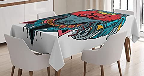 Tribal Tablecloth by Ambesonne, Indian Warrior Wolf Portrait with Mask Feathers Native American Animal Art, Dining Room Kitchen Rectangular Table Cover, 60 W X 90 L Inches, Teal White and - Native American Art Masks