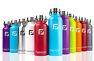 Glacier Point Vacuum Insulated Stainless Steel Water Bottle (25oz/17oz) Double Walled Construction, Premium Powder Coating, Zero Condensation!