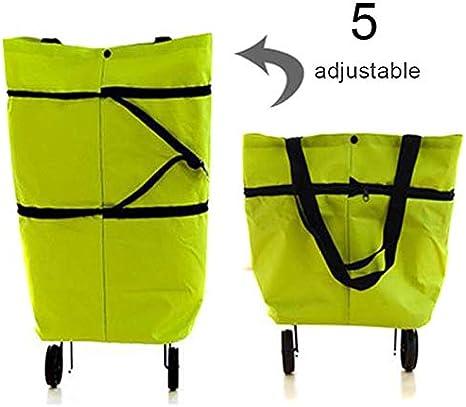 Icegrape - Carrito de la compra plegable portátil 2 en 1 con rueda