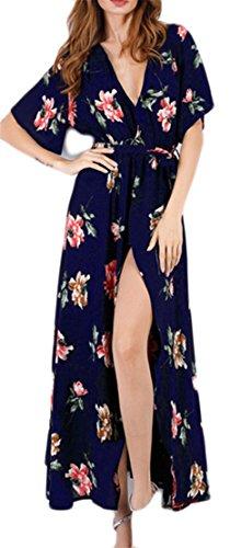 Cruiize Été Imprimé Floral Robes De Plage De Fente En Mousseline De Soie Col V Femmes Bleu Foncé