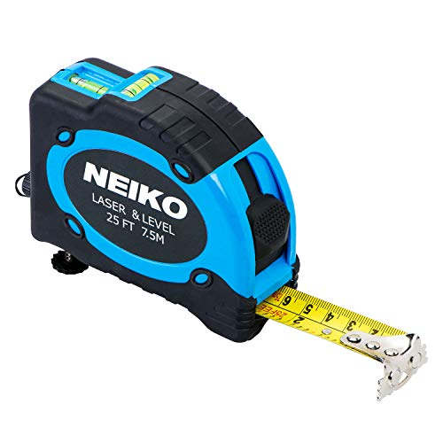 Metric Level - Neiko 01601A Multi-Purpose SAE and Metric Measuring Tape with Level and Laser | 25-Feet (7.5 Meters) Maximum Measuring Length