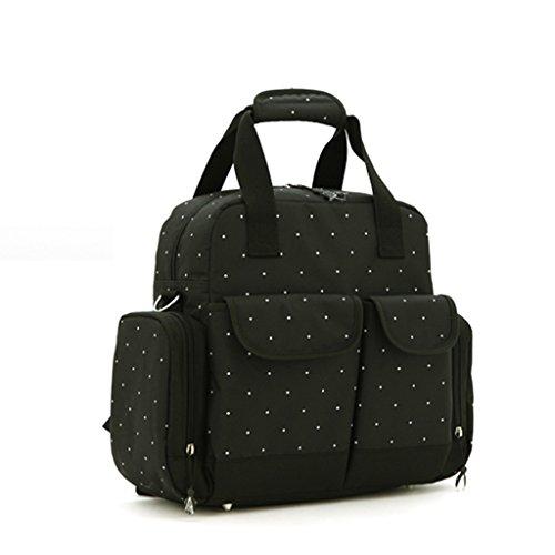 Bolso Mommy de la manera de la manga grande de los bolsos de Mama Bag Diagonal Bolso Mommy portable multiusos de la mam3a ( Color : Negro ) Negro