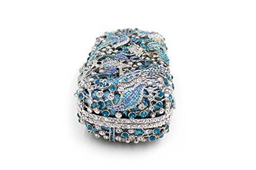 Rhinestone de lujo Bolsa de noche animal favorito señoras bolso Boda monedero del embrague bastidor metálico A
